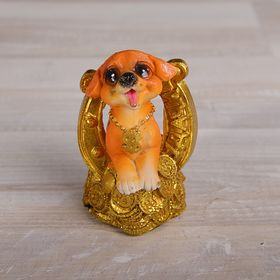 "Souvenir Polyresin ""a Dog with a horseshoe, a coin and a wish to"" MIX 8,5x5,5x6 cm"