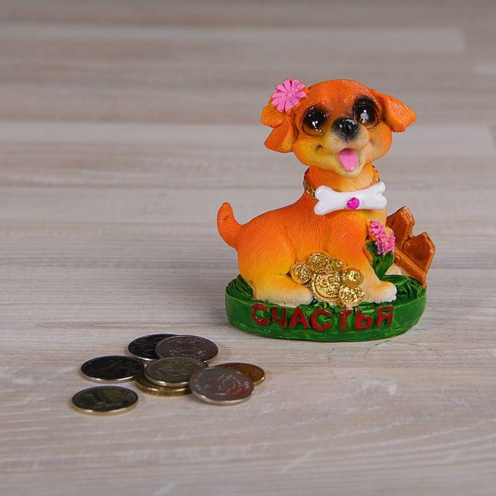 "Сувенир полистоун ""Собака на полянке с цветами и монетками"" МИКС 9х7х5 см"