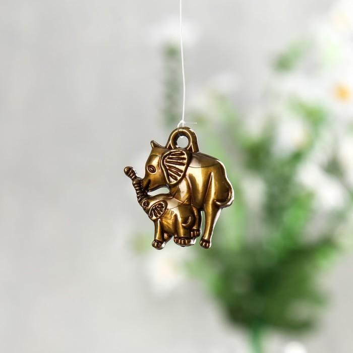 "Музыка ветра металл ""Мраморные слоны"" 4 трубочки 1 фигурка 57 см"