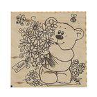 """Доска для выжигания """"Маме"""" медвежонок с букетом, 15 х 15 см"""