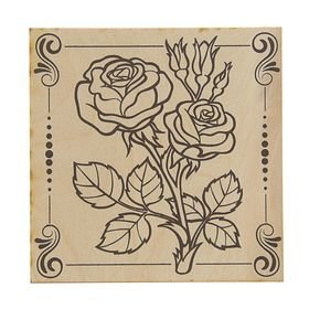 Board burning rose 15 x 15 cm