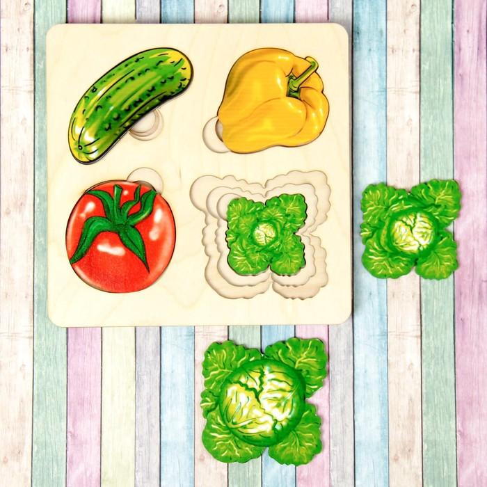 Больше-меньше «Овощи» развивающая доска Сегена