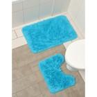 Набор ковриков для ванны и туалета, 2 шт: 40×50, 50×80 см цвет голубой - фото 4653092