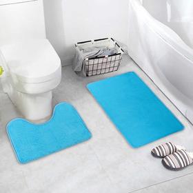 Набор ковриков для ванны и туалета «Пушистик», 2 шт: 40×50, 50×80 см, цвет голубой