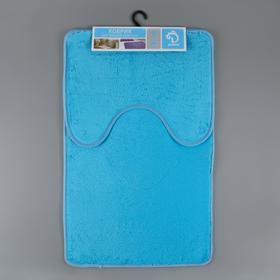 Набор ковриков для ванны и туалета, 2 шт: 40×50, 50×80 см цвет голубой - фото 4653096