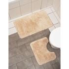 Набор ковриков для ванны и туалета, 2 шт: 40×50, 50×80 см цвет бежевый - фото 4653098