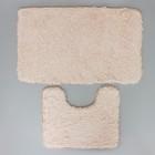 Набор ковриков для ванны и туалета, 2 шт: 40×50, 50×80 см цвет бежевый - фото 4653099