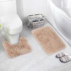 Набор ковриков для ванны и туалета, 2 шт: 40×50, 50×80 см цвет бежевый - фото 4653097