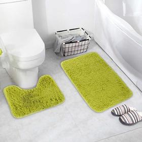 Набор ковриков для ванны и туалета «Пушистик», 2 шт: 40×50, 50×80 см, цвет зелёный