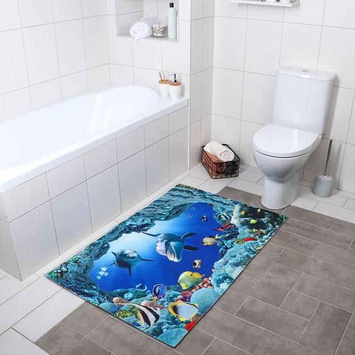 Коврик Доляна «Дельфины», 80×120 см - фото 7930390