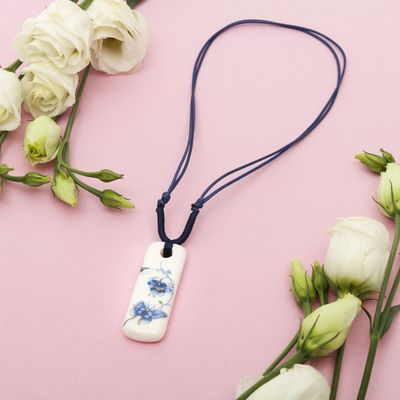 "Pendant ""Ceramics"" narrow rectangle, length 36-70cm adjustable-color: blue-white, 36 cm"