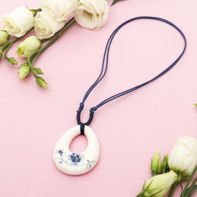 "Pendant ""Ceramics"" drop length 36-70cm adjustable-color: blue-white, 36 cm"