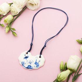"Pendant ""Ceramics"" semi-circle, length 36-70cm adjustable-color: blue-white, 36 cm"