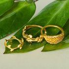 """Кольцо """"Ассорти"""" цветение, размер 14,17,18 МИКС, цвет золото"""
