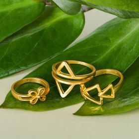 Ring Assorted triangles, size 14,17,18 MIX color matte gold