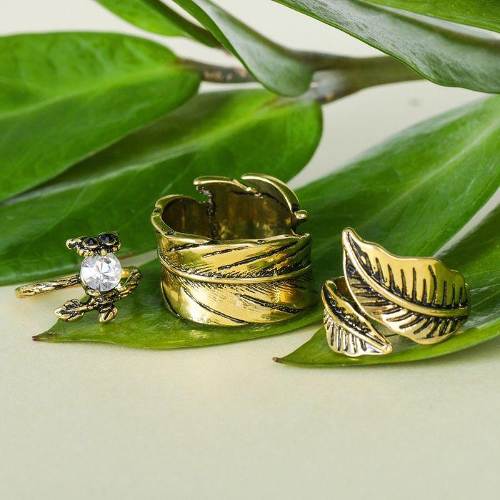 """Кольцо """"Ассорти"""" сова с листочками, размер 14,17,18 МИКС, цвет чернёное золото"""