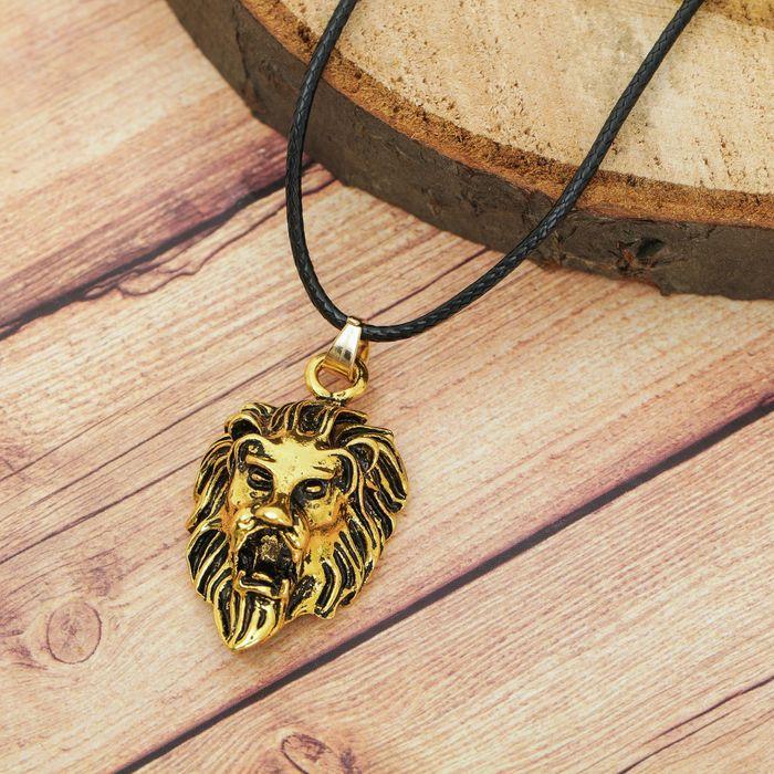 """Кулон мужской """"Лев"""", цвет чернёное золото, 40 см"""