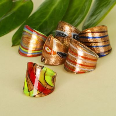 """Ring """"Murano glass"""" strips MIX color"""