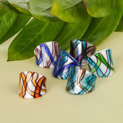 """Ring """"Murano glass"""" wave, MIX color, MIX size"""