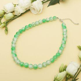 """Beads """"Sugar quartz"""" ball No. 10, color white and green, 40cm"""
