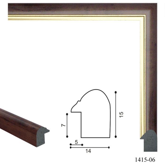 Багет пластиковый 14 мм х 15 мм х 2,9 м (Ш х В х Д) CD 1415–06 чёрно–коричневый/золотой