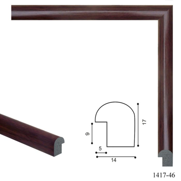 Багет пластиковый 14 мм х 17 мм х 2,9 м (Ш х В х Д) CD 1417–46 бордово–коричневый