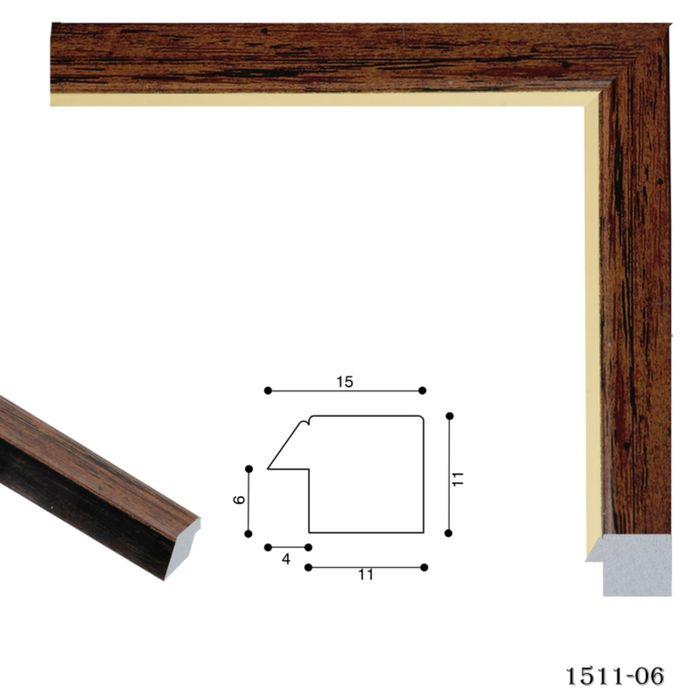 Багет пластиковый 15 мм х 11 мм х 2,9 м (Ш х В х Д) CD 1511–06 коричневый/золотой