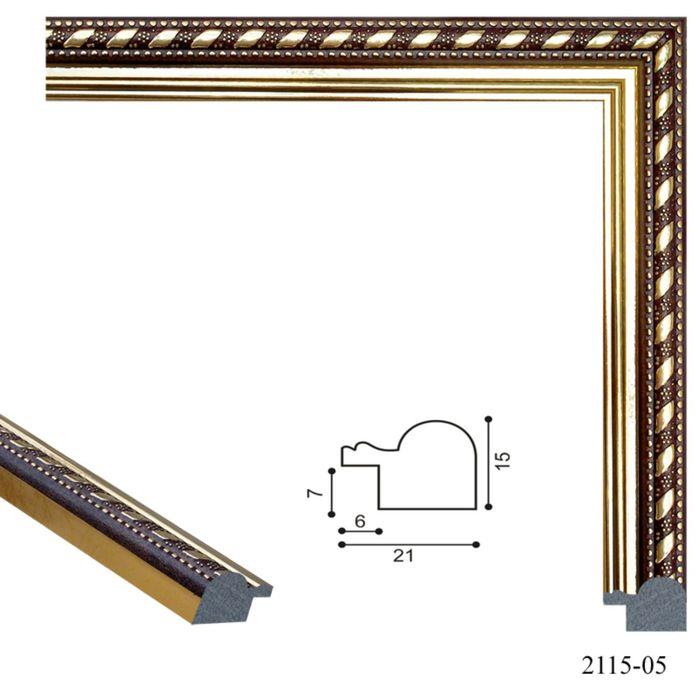 Багет пластиковый 21 мм х 15 мм х 2,9 м (Ш х В х Д) CD 2115–05 коричневый/золотой