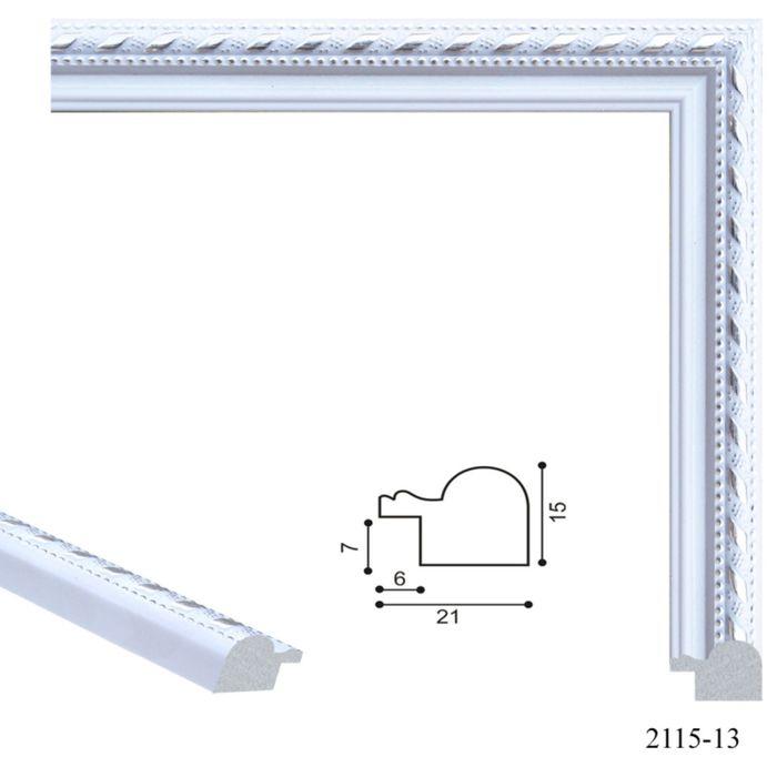 Багет пластиковый 21 мм х 15 мм х 2,9 м (Ш х В х Д) CD 2115–13 белый/серебряный