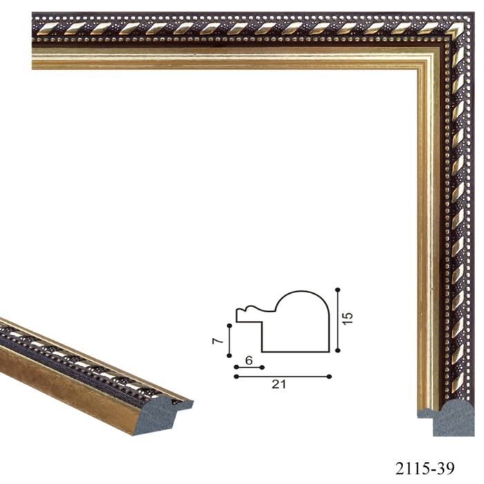Багет пластиковый 21 мм х 15 мм х 2,9 м (Ш х В х Д) CD 2115–39 тёмно–коричневый/золотой