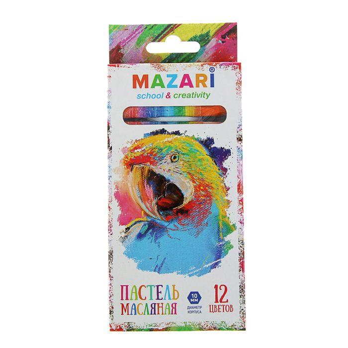 Пастель масляная 12 цветов MAZARI Safari, шестигранная, 73мм, d-10мм