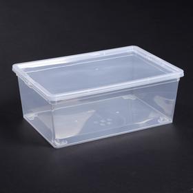 Ящик для хранения с крышкой IDEA, 10 л, 37×24×14 см, цвет прозрачный