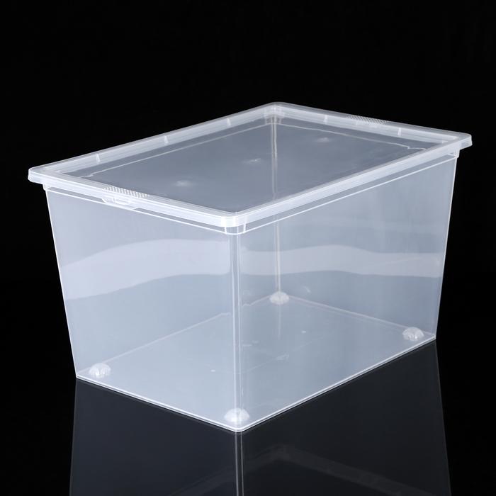 Ящик для хранения с крышкой IDEA, 50 л, 53×38×30 см, цвет прозрачный - фото 308334198