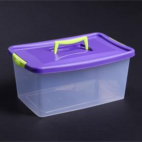Контейнер для хранения с крышкой 9 л, 39×24×17 см, цвет фиолетовый