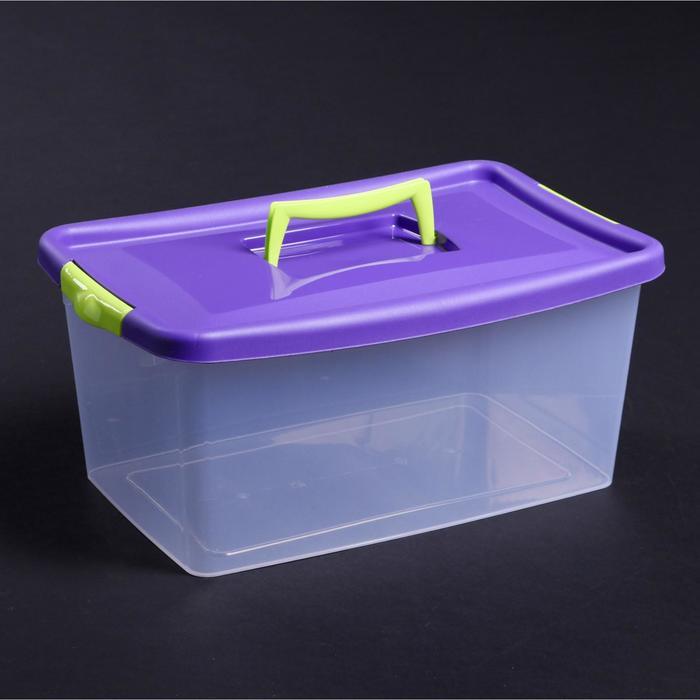 Контейнер для хранения с крышкой 9 л, 39×24×17 см, цвет фиолетовый - фото 308334203