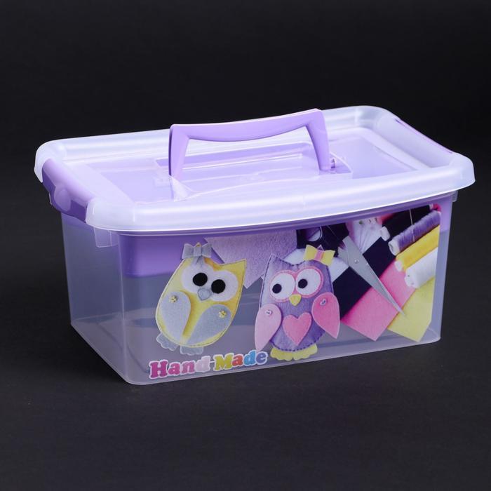 Контейнер для хранения с крышкой и вкладышем IDEA «Рукоделие», 4 л, 30×20×13 см, цвет лиловый - фото 308334205