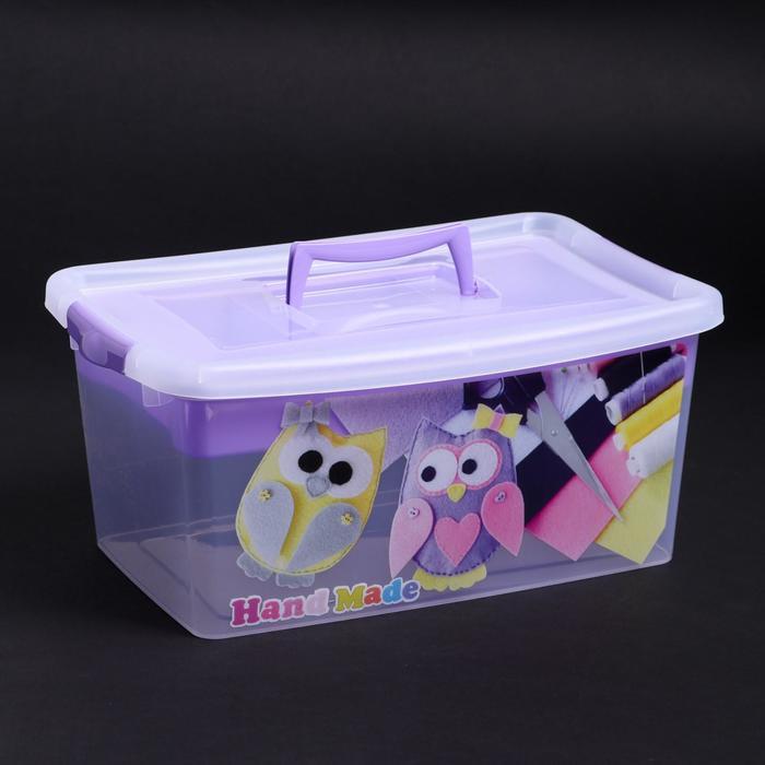 Контейнер для хранения с крышкой и вкладышем «Рукоделие», 9 л, 38×24×17 см, цвет лиловый - фото 308334208