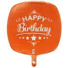 """Шар фольгированный 18"""" """"С днём рождения!"""", квадрат, цвет оранжевый"""
