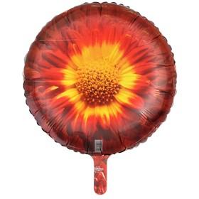 """Шар фольгированный 18"""" «Цветок: красный подсолнух», круг"""