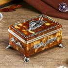 Набор из бронзы и янтаря: коробочка для чая с ложечкой, ложечка 7 см