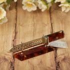 Нож для резки бумаги из бронзы и янтаря
