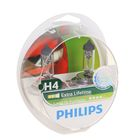 Лампа автомобильная Philips, LongLife EcoVision, H4, 12 В, 60/55 Вт, P43t, 2шт.