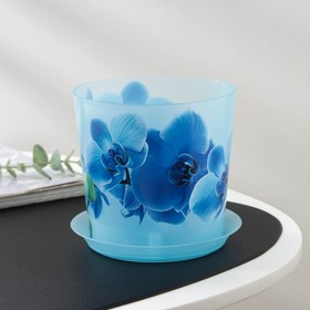 Кашпо с поддоном IDEA «Деко. Орхидея», 1,2 л, цвет голубой
