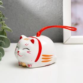"Сувенир керамика колокольчик ""Манэки-нэко лежит""  5,7х5,5х5 см"