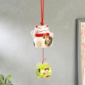 """Сувенир керамика колокольчик """"Манэки-нэко"""" белый 6х6,5х5,5 см"""