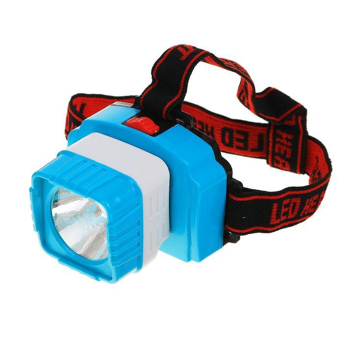 Фонарик налобный, 1 LED, 2 режима, квадратный рассеиватель, 3 АА, 6х8.5 см