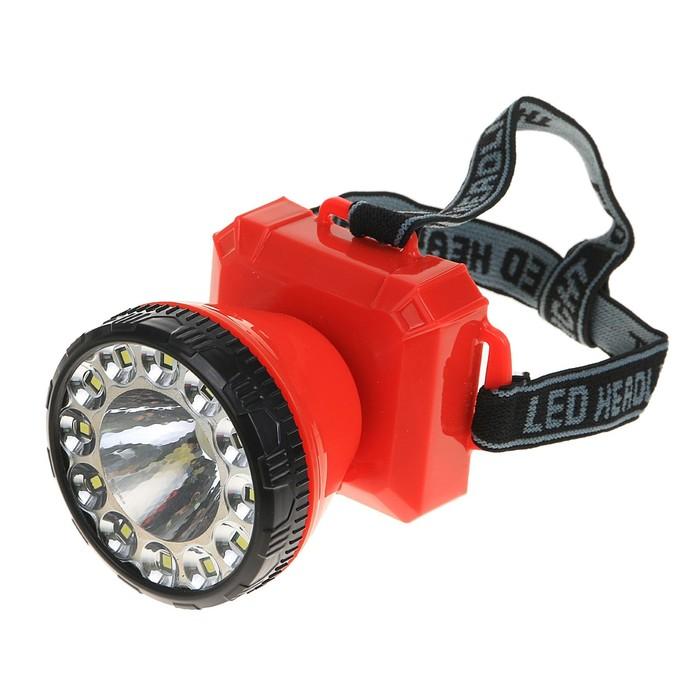 Фонарик налобный, 1 LED, лента COB, 2 режима, 3 АА, микс, 7х9 см