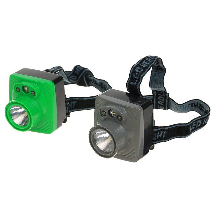 Фонарик налобный, 4 LED, 3 АА, микс, 6х6.5х6 см