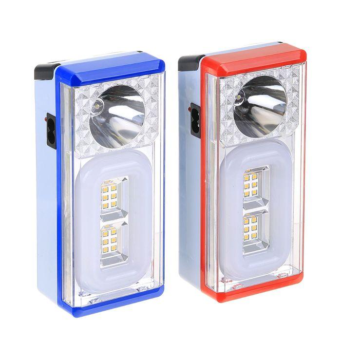 Фонарик с квадратной ручкой, 2 типа освещения, 14 LED, 4 АА, микс, 7х5.5х16 см