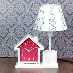 "Часы будильник ""Have a nice day"" с светильником, карандашницей, в форме дома, З0х25х16.5 см"